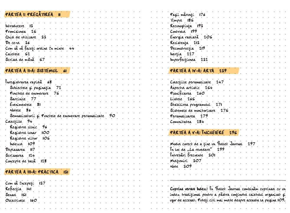 cuprin carte Metoda Bullet Journal